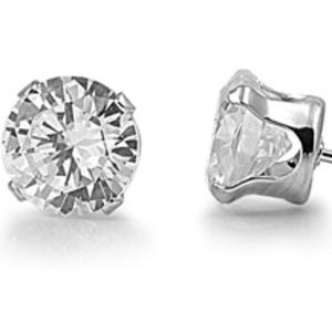 Jewelry - Stainless Steel CZ Stud Earrings